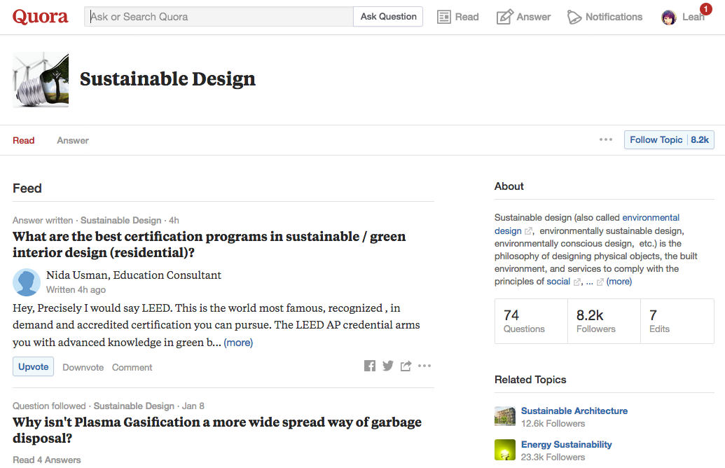 quora sustainable design